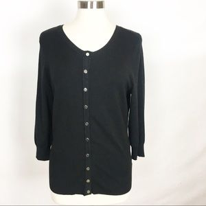 WHBM | Classic Chic Button Front Black Cardigan